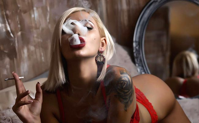 hot and seductive smoking