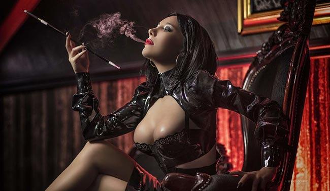 dominatrix with a cigarette