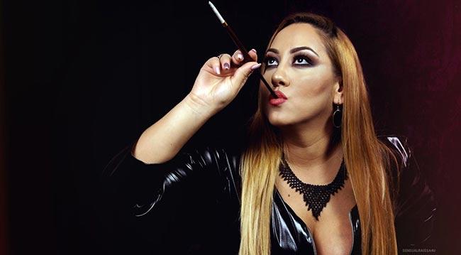 hot fetish girl with cigar holder